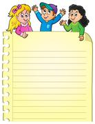 Part of blank page with happy kids - stock illustration