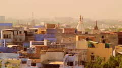 The rooftops of the old blue city of Jodhpur, Rajasthan, India Stock Footage
