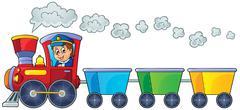 Train with three empty wagons Stock Illustration