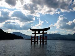 Great Torii on Itsukushima Stock Photos