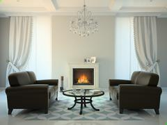 Classic style room with fireplace and sofas 3D rendering - stock illustration