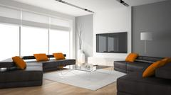 Modern interior with two sofas and ornge pillows 3D rendering - stock illustration