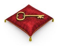 Golden key on royal red velvet pillow isolated on white background 8 - stock illustration