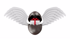 4K Animation of Broken Chocolate Easter Egg with Gift Box and Angel Wings Stock Footage
