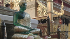 A jade Buddha statue at Wat Phra That Doi Suthep in Chiang Mai, Thailand - stock footage