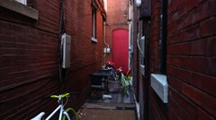 Narrow alley Stock Footage