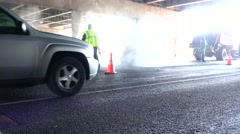 Road Construction, raking and rolling , steam blowing Stock Footage