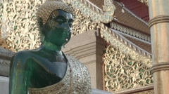 A jade Buddha statue at Wat Phra That Doi Suthep in Chiang Mai, Thailand Stock Footage
