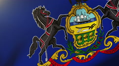 Pennsylvania flag waving in the wind. Looping sun rises style.  Animation loop Stock Footage