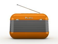 Old orange vintage retro style radio receiver isolated on white background - stock illustration