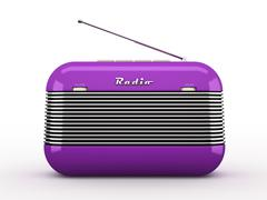 Old purple vintage retro style radio receiver isolated on white background - stock illustration