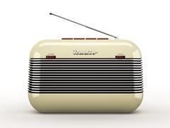 Old beige vintage retro style radio receiver isolated on white background - stock illustration