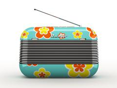 Old flovers pattern vintage retro style radio receiver isolated on white back Stock Illustration