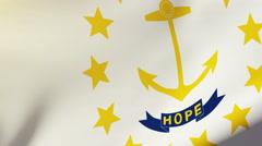 Rhode island flag waving in the wind. Looping sun rises style.  Animation loop Stock Footage