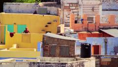 Daily life on the blue city of Jodhpur, India Stock Footage