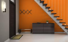 Hallway with orange wall and stair Stock Illustration