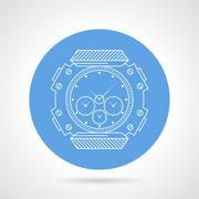 Flat round vector icon for diving wristwatch Stock Illustration