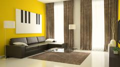 Stock Illustration of Part 2 of interior with yellow walls