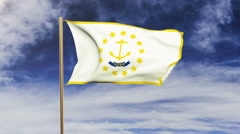 Rhode island flag waving in the wind. Green screen, alpha matte. Loopable Stock Footage