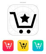 Shopping cart with favorites item icon - stock illustration