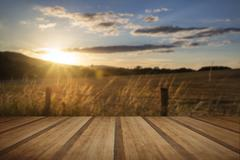 Stock Photo of Beautiful Summer image of sun shining and backlighting countryside landcape w