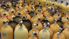 Stock Video Footage of Diving cylinders ready ashore 2