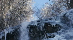 Ice covered waterfall Stock Footage