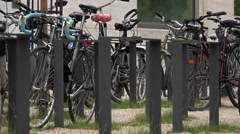 Bike rack at University 4k Stock Footage