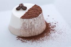 Frozen yogurt coffee and cacao panna cotta Stock Photos