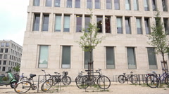Bikes parked at Goethe University in Frankfurt 4k Stock Footage