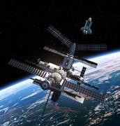 Space Station And Space Shuttle. - stock illustration