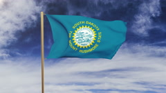 South dakota flag waving in the wind. Green screen, alpha matte. Loopable Stock Footage