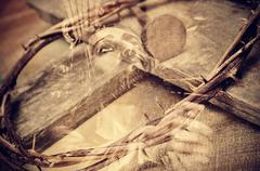 Stock Illustration of double exposure of the Passion of the Christ