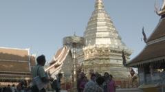 Tourists take photos at Wat Phra That Doi Suthep in Chiang Mai, Thailand Stock Footage