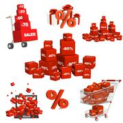 Set of red boxes with the goods at a discount - stock photo
