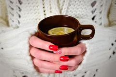 Cup of hot tea Stock Photos