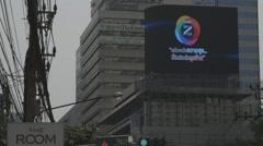 Advertising Board on Asoke Montri Road Stock Footage
