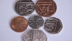 4k Shield zoom out coins British pound sterling Stock Footage