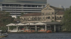 Riverboat Traffic on Chao Phraya River Stock Footage