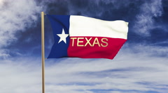 Texas flag with title waving in the wind. Looping sun rises style.  Animation Stock Footage