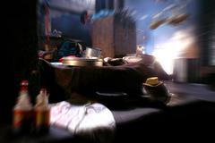 Tibetan monastery kitchen Stock Photos
