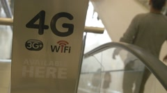 4G Advertisement in Shopping Mall - stock footage