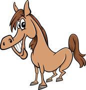 farm horse cartoon illustration - stock illustration