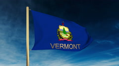 Vermont flag slider style with title. Waving in the wind with cloud background Stock Footage