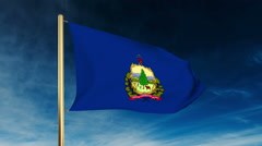 Vermont flag slider style. Waving in the win with cloud background animation Stock Footage