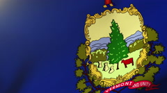 Vermont flag waving in the wind. Looping sun rises style.  Animation loop Stock Footage