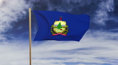 Vermont flag waving in the wind. Green screen, alpha matte. Loopable animation Stock Footage