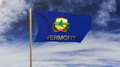 Vermont flag with title waving in the wind. Looping sun rises style.  Animation Stock Footage
