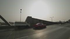 Traffic on Memorial Bridge (Saphan Phut) and Chao Phraya River Stock Footage