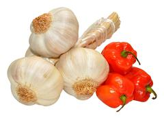 Stock Photo of Garlic And Scotch Bonnet Peppers